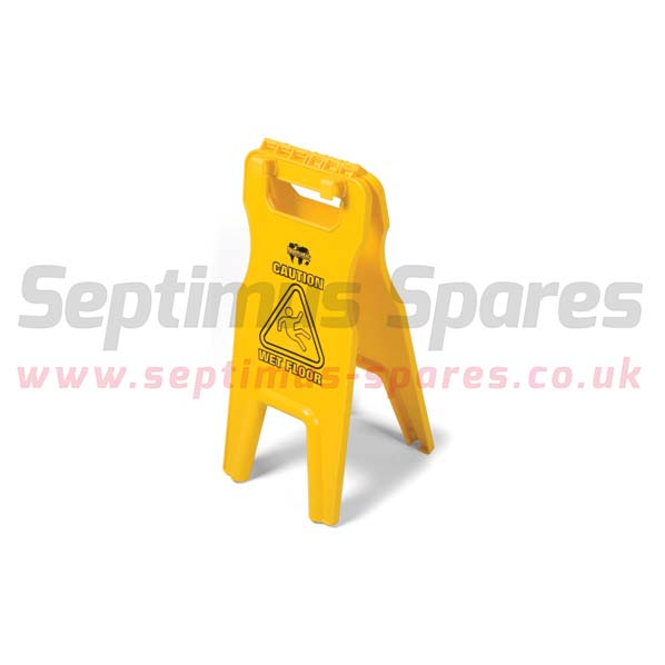 629044 - WET FLOOR SIGN WITH TRAY-FIX HOOKS, YELLOW
