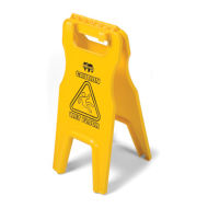 WET FLOOR SIGN WITH TRAY-FIX HOOKS, YELLOW